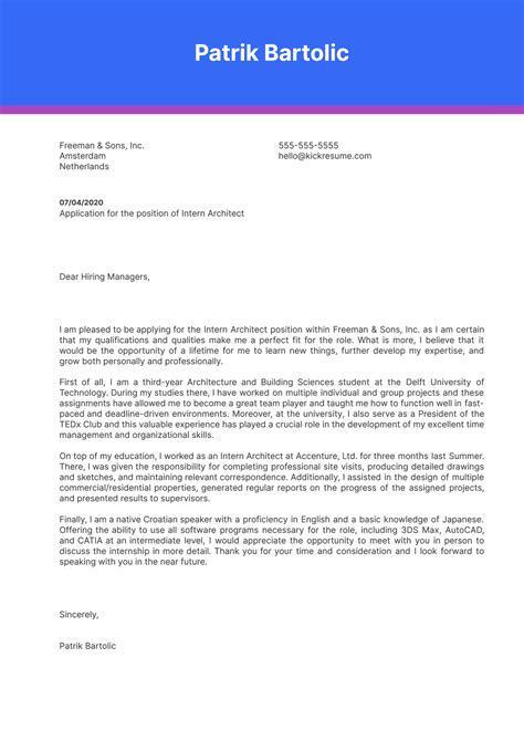 Cover Letter Architecture Internship
